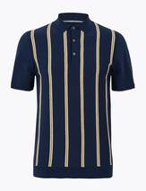 Cotton Striped Knitted Polo Shirt in Navy