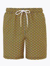 Quick Dry Geometric Swim Shorts in Yellow