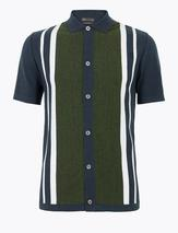 Cotton Striped Knitted Polo Shirt in Multicoloured