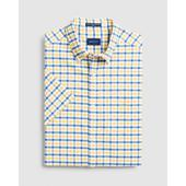 Regular Fit Short Sleeve 2-Color Gingham Oxford Shirt in Yellow