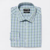 Green Gingham Easy Iron Long Sleeves Classic Fit Shirt in Green