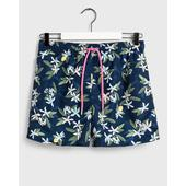 Classic Fit Lemon Flowers Swim Shorts in Blue