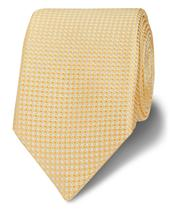 Royal Ascot Slim Yellow Textured Square Silk Tie in Yellow
