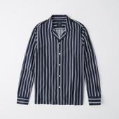 Long-Sleeve Button-Up Shirt in White and Navy