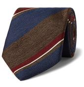 8cm Striped Silk and Wool-Blend Tie in Brown and Navy