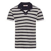 Terry Towelling Navy/Almond Stripe Tailored Fit Polo Shirt in Neutral and Navy
