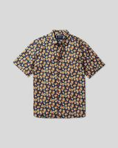Classic Collar Short Sleeve Linen Cotton Shirt - Blue in Multicoloured