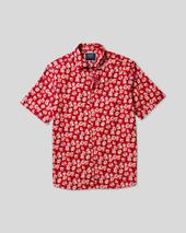 Classic Collar Short Sleeve Linen Cotton Shirt - Red in Red