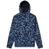 Nike Tech Camo Zip Hoody in Navy and Blue