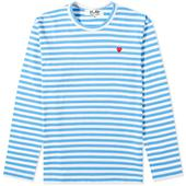 Comme des Garcons Play Little Red Heart Long Sleeve Stripe Tee in White and Blue