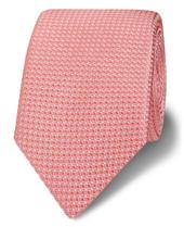 Royal Ascot Slim Coral Textured Square Silk Tie in Pink