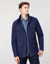 Oakes Multi Pocket Cotton Military Jacket in Navy
