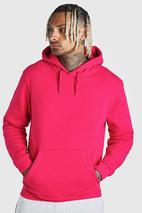 Basic Over The Head Hoodie in Pink