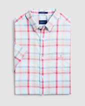 Regular Fit Short Sleeve Plaid Windblown Oxford Shirt in Pink and Blue