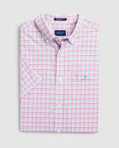 Regular Fit Short Sleeve 3-Color Gingham Broadcloth Shirt in Pink
