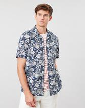 Revere Short Sleeve Collar Printed Shirt in White and Navy