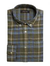 Long Sleeve Linen Madras Check Shirt in Green and Blue