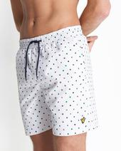 Flag Print Swim Short in White