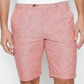 Dark Pink Linen Blend Chambray Tailored Fit Shorts in Pink