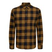 Cotton Check Shirt in Brown and Black