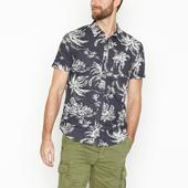 Dark Grey Exploded Palm Print Organic Cotton Short Sleeve Shirt in Grey