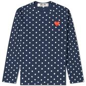 Comme des Garcons Play Long Sleeve Polka Dot Tee in Navy