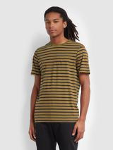 India Slim Fit Striped T-Shirt In Olive Brown in Multicoloured