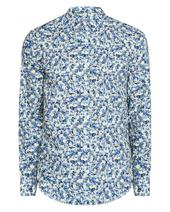 Long Sleeve Painted Floral Print Shirt in Blue