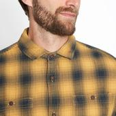 Gold Garment Dye Ombre Check Cotton Long Sleeve Shirt in Yellow