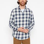 Dark Blue Garment Dye Ombre Check Cotton Long Sleeve Shirt in White and Navy
