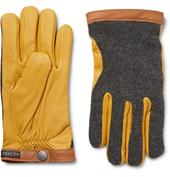 Tricot-Panelled Leather Gloves in Yellow and Grey
