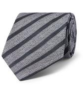 8cm Striped Linen and Silk-Blend Tie in Blue