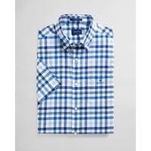 Regular Fit Short Sleeve Multi Gingham Broadcloth Shirt in Blue