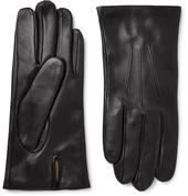 Bath Cashmere-Lined Leather Gloves in Black