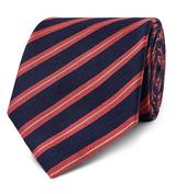 7.5cm Striped Silk and Linen-Blend Tie in Red and Navy