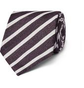 8cm Striped Linen and Silk-Blend Tie in Purple and Neutral