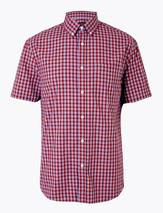 Pure Cotton Checked Shirt in Red