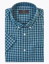 Pure Cotton Checked Shirt in Blue