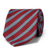 7cm Striped Silk and Linen-Blend Tie in Red and Blue