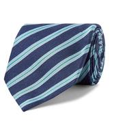 7cm Striped Silk and Linen-Blend Tie in Navy and Blue