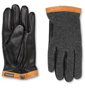 Tricot-Panelled Leather Gloves in Black