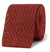 6cm Knitted Silk Tie in Red