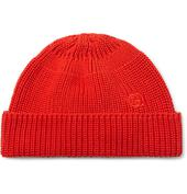 Logo-Embroidered Cable-Knit Cotton Beanie in Red