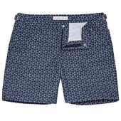 Bulldog Navy/Signal Blue Mid-Length Swim Shorts in White and Navy