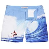 Bulldog Catching The Tube Mid-Length Swim Shorts in Blue