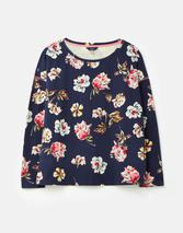 Marina Print Dropped Shoulder Jersey Top in Navy