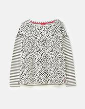 Marina Print Dropped Shoulder Jersey Top in White