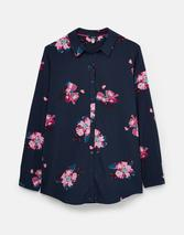 Elvina Button Front Woven Shirt in Navy