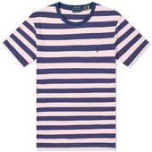 Polo Ralph Lauren Broad Striped Tee in Pink and Navy