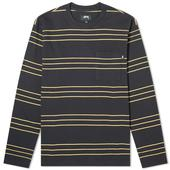 Stussy Long Sleeve Trinity Stripe Tee in Black